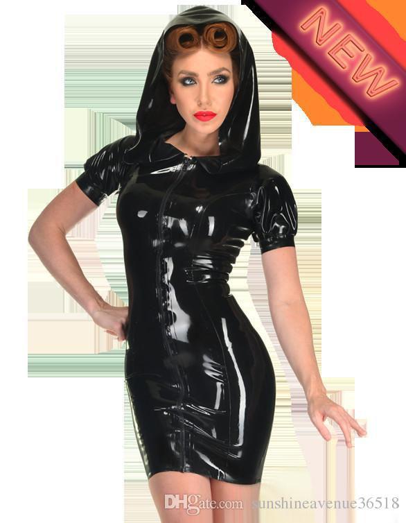 Catsuit Faux Leather Donna Con cappello Costumi da ballo Sexy Womens Latex Fetish pvc Fantasie Eroticas Prodotti intimo S-XXL Plus Size