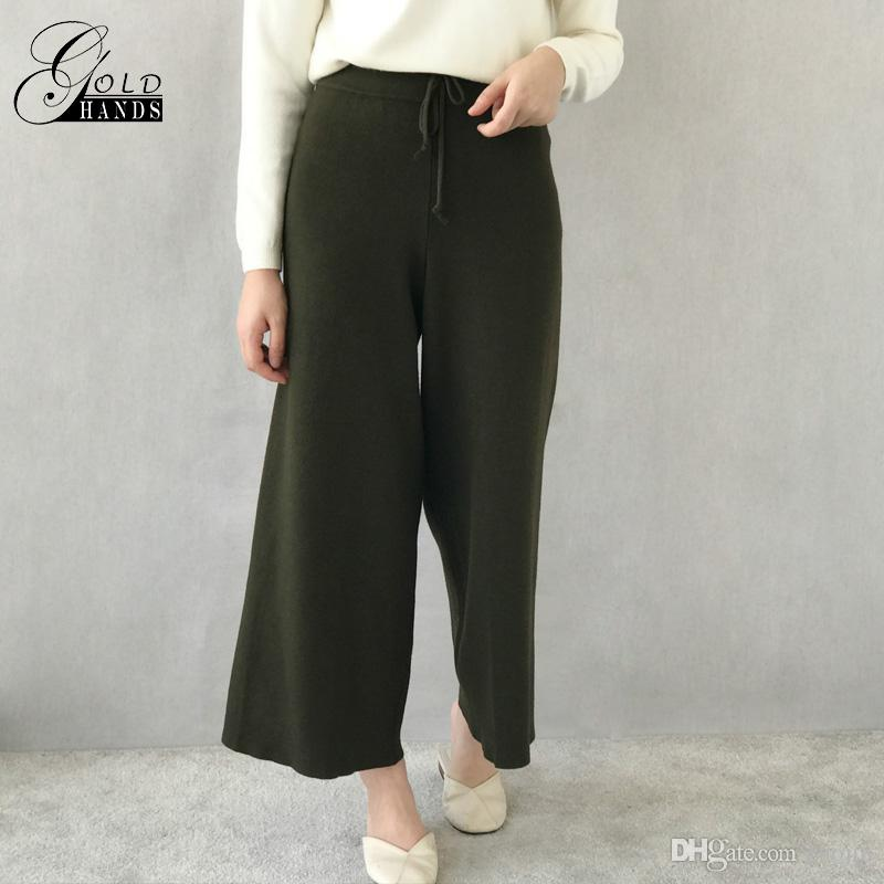 023db73b27867 2019 Women Autumn Winter Knitted Pants Back Pockets Loose Casual Wide Leg  Pants Female Warm Wool Trousers Lady Fashion Korean Pants From Tuojin