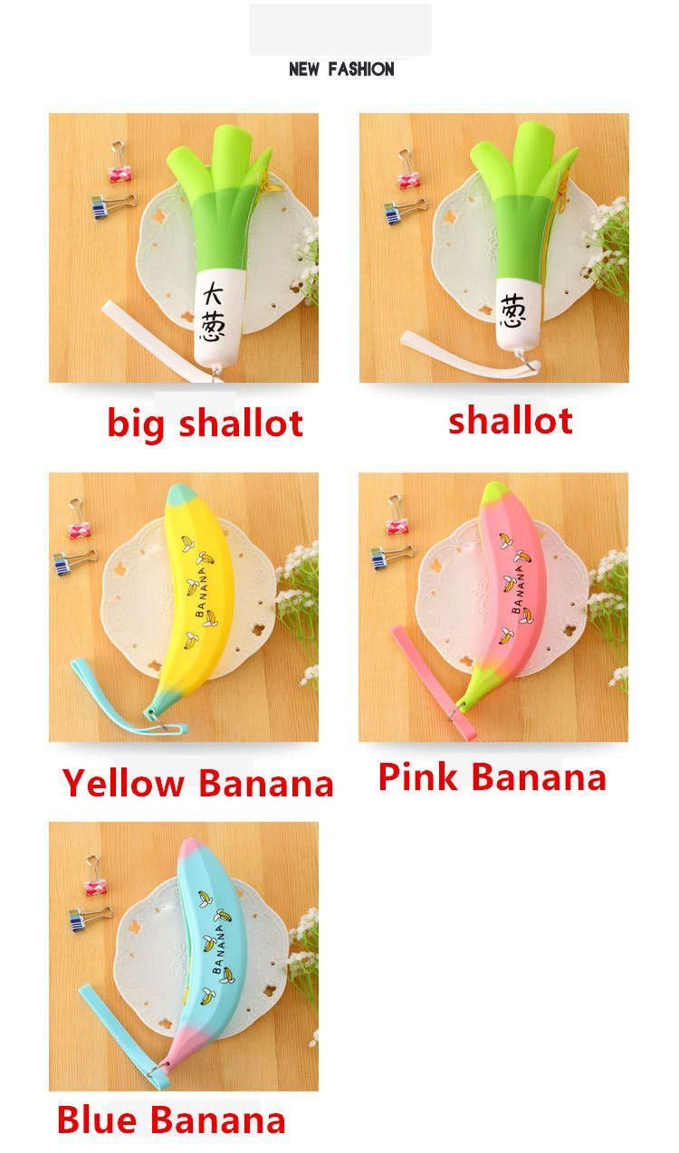 Novelty Banana Pencil Case Kawaii Pencil Bag Rubber shallot pattern Coin Purse Estuches School Supplies Stationery