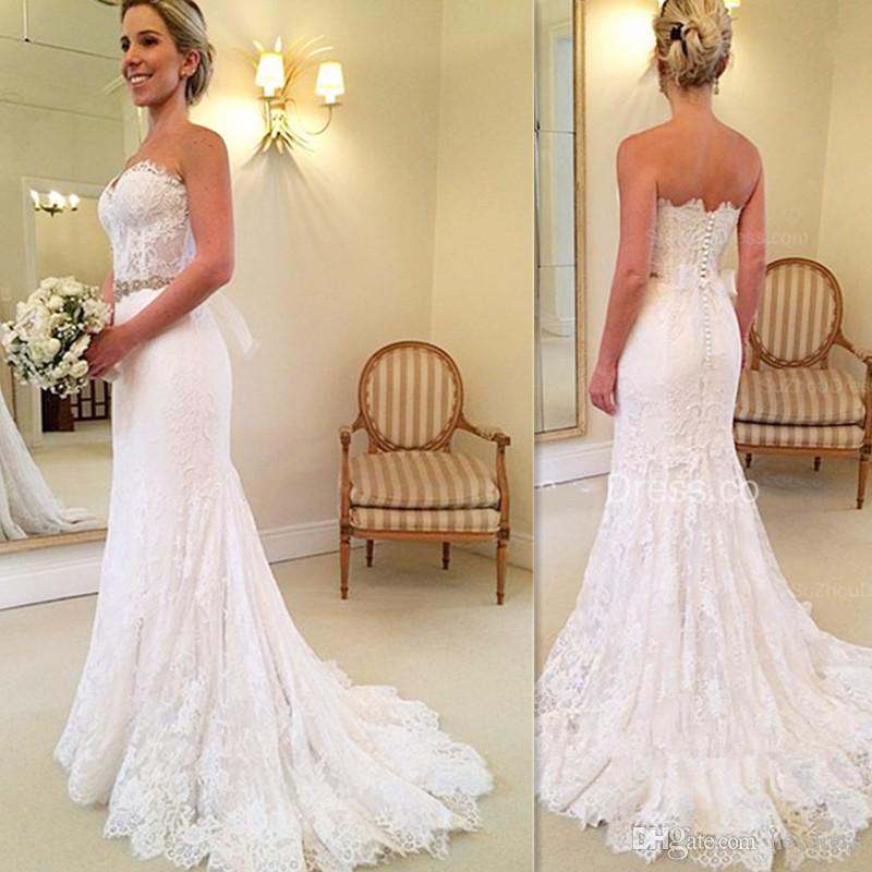 Simple Lace Trumpet Wedding Gowns Long 2017 Sweetheart Handmade ...