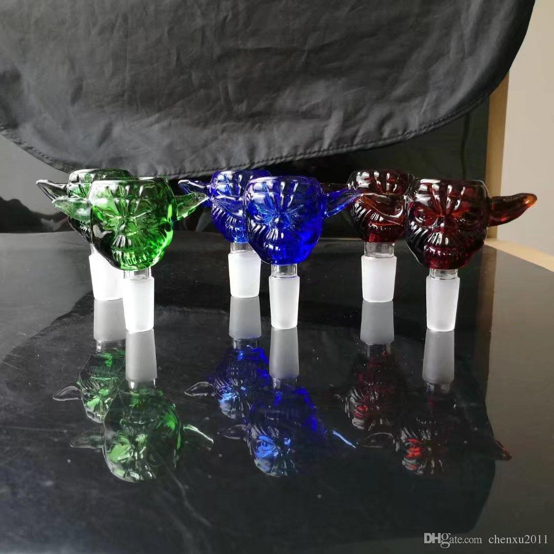5 Adet / grup Heady Cam Bongs Kaseler Kalın Kuş Kafası Cam Kaseler 14.4mm veya 18.8mm Erkek Ortak Kaseler Mix 4 Renkler Sigara Aksesuarları
