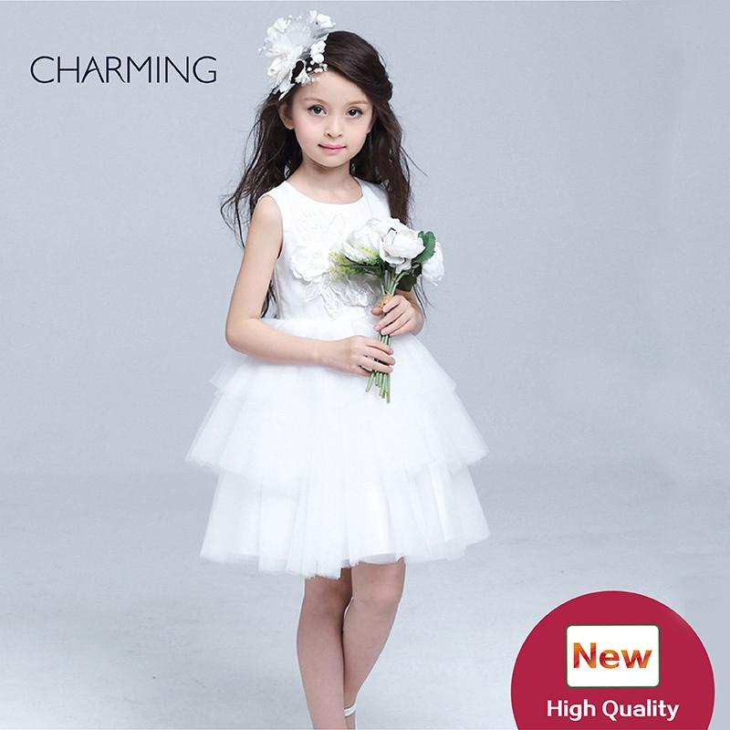 af5c5b2d1 White Flower Girl Dress Short Flower Girl Dresses Weddings Girls ...