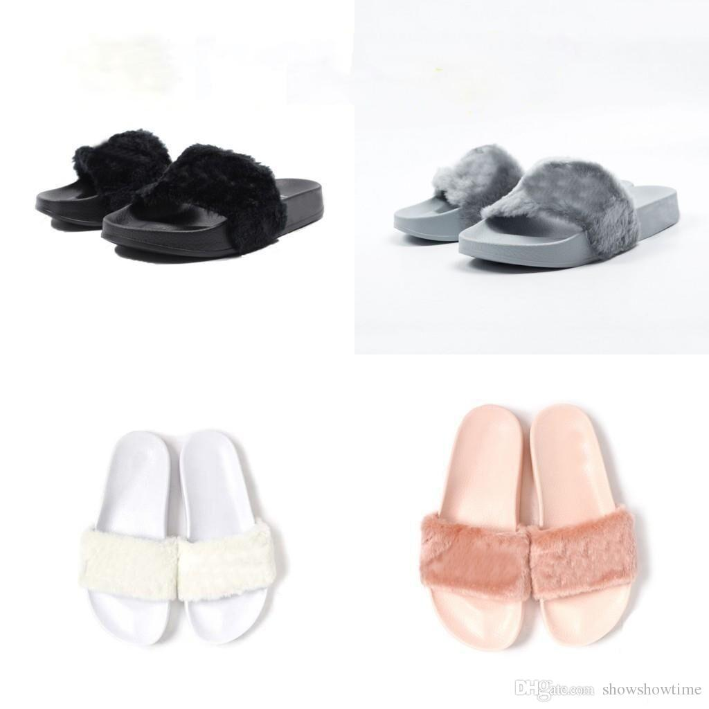 e4911fff5fbe With Original Dusty Bag Cheap RIHANNA Shoes LEADCAT FENTY WOMEN SLIPPERS  Girls Fashion Indoor Slide Sandals Scuffs Grey Pink Black White Boys Size 7  .