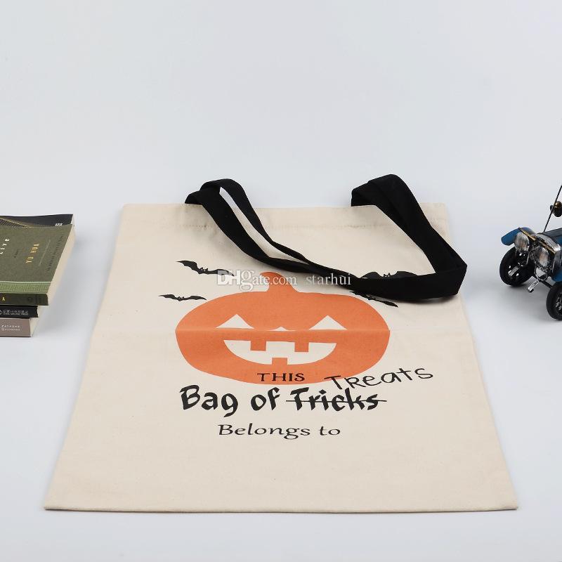 새로운 할로윈 자루 사탕 선물 가방 스토리지 가방 재사용 가능한 캔버스 핸드백 만화 토트 호박 스파이더 인쇄 어깨 가방 36 * 44cm WX9-732