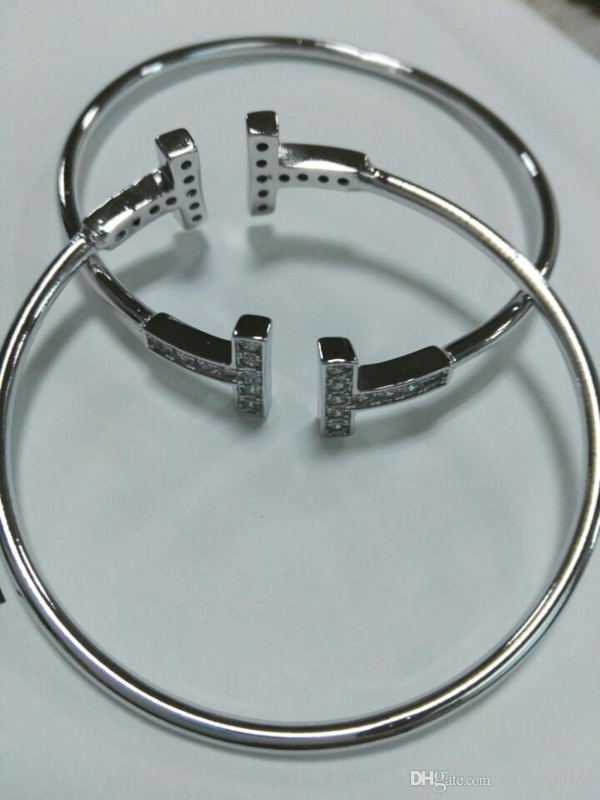 S925 سوار الفضة مطلي سوار مزدوج T البلاتين ارتفع الذهب الماس الأزياء والمجوهرات الفضية بسيطة