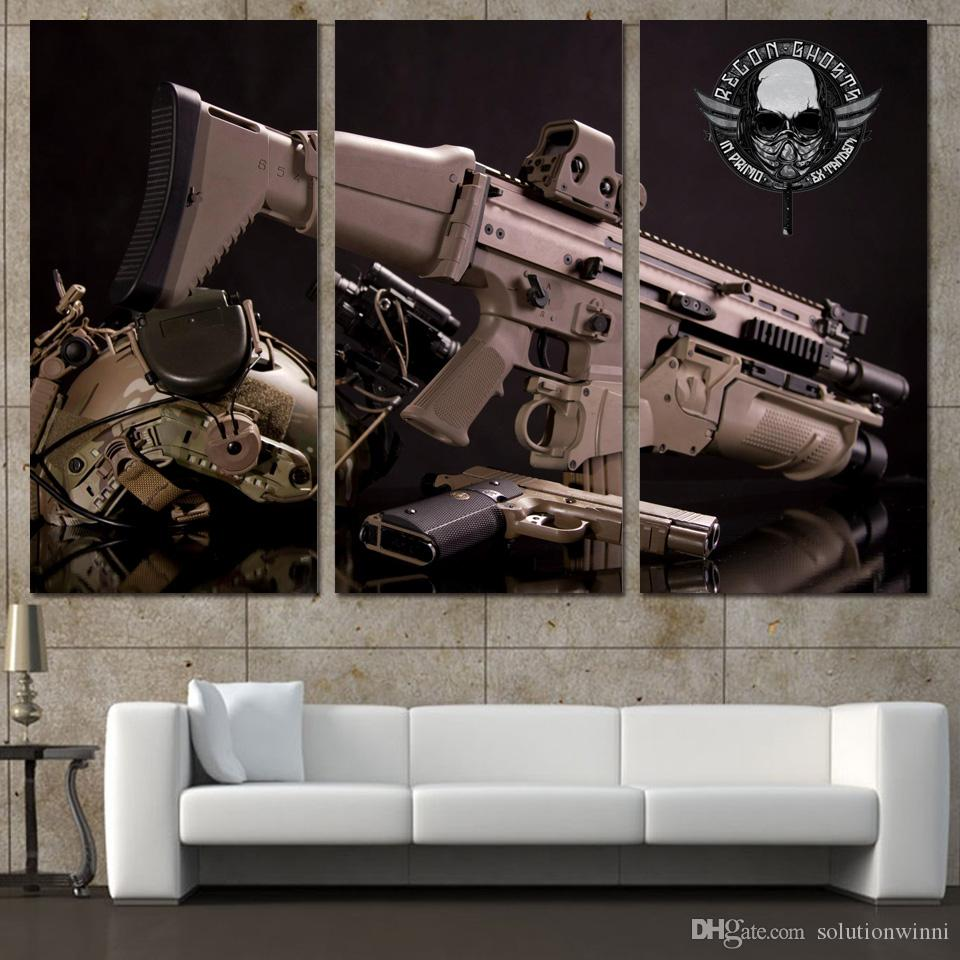 2019 3 Panels Canvas Art Weapon Gun Helmets Army Home