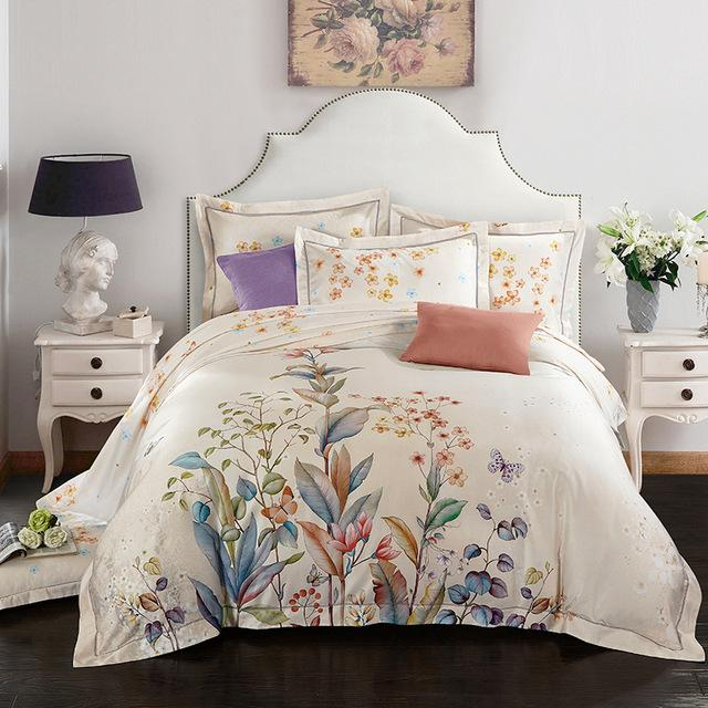 oil painting style duvet cover set egyptian cotton queenking size bedding sets grass flower butterfly quilt cover offwhite comforters cheap duvet covers