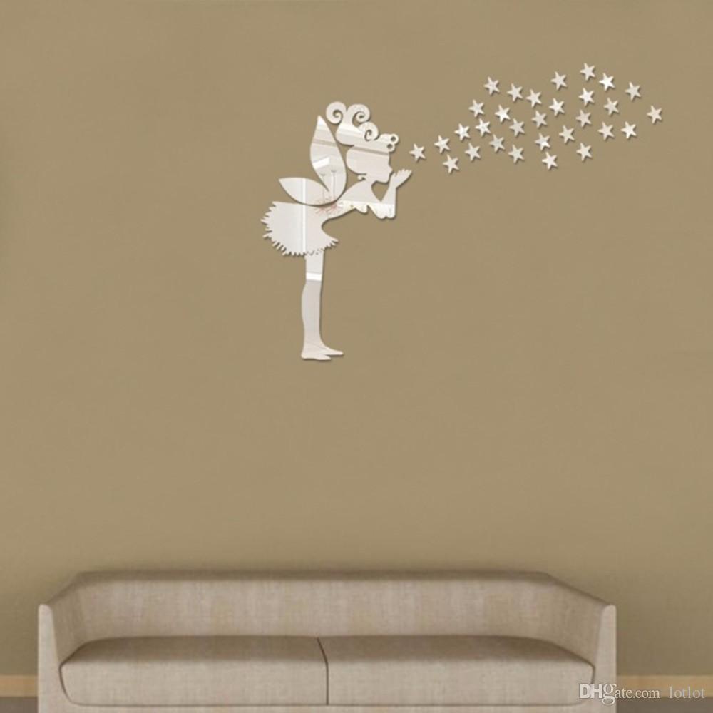 천사 매직 요정 별 3D 거울 벽 스티커 어린이 침실 장식 선물 크리 에이 티브 어린 소녀 벽 스티커