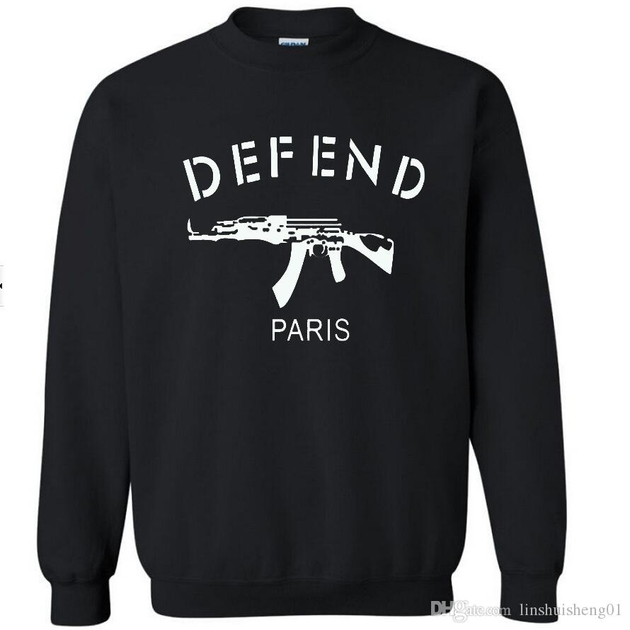 Men/women black harajuku sweatshirt tracksuits Letters DEFEND PARIS pullovers outerwear jumper hoodies M-XXXL