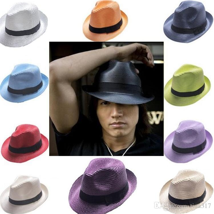 Wholesale-- Cheap Straw Hats Panama Sun Hats Protection Mixed Soft Stingy Brim Hats Free Ship C062