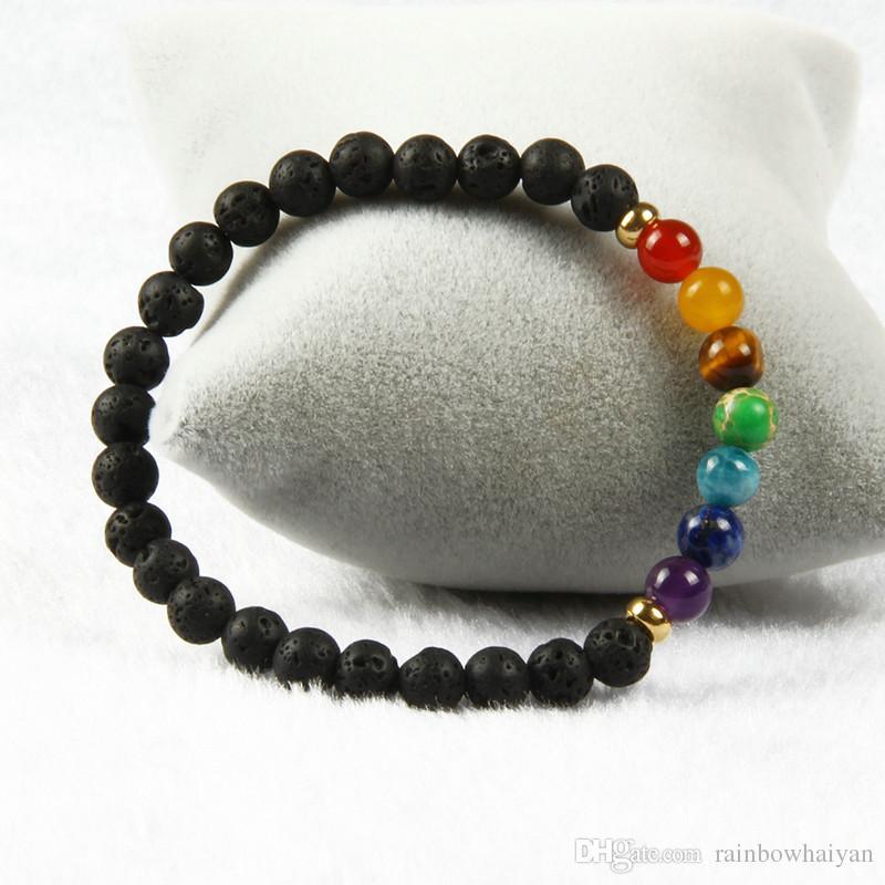 Новый дизайн 7 Чакра целебный камень Йога медитации браслет 6 мм лава рок каменные бусины с смесью цвета каменные браслеты для подарка
