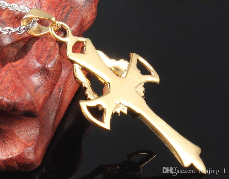 Mens Punk Titaniumstahl vergoldete Kreuzflügel-Schädel-Anhänger Halsketten mit 24