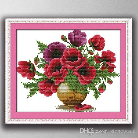 Colorful Poppy Flower Vase Home Decor Paintings Handmade Cross
