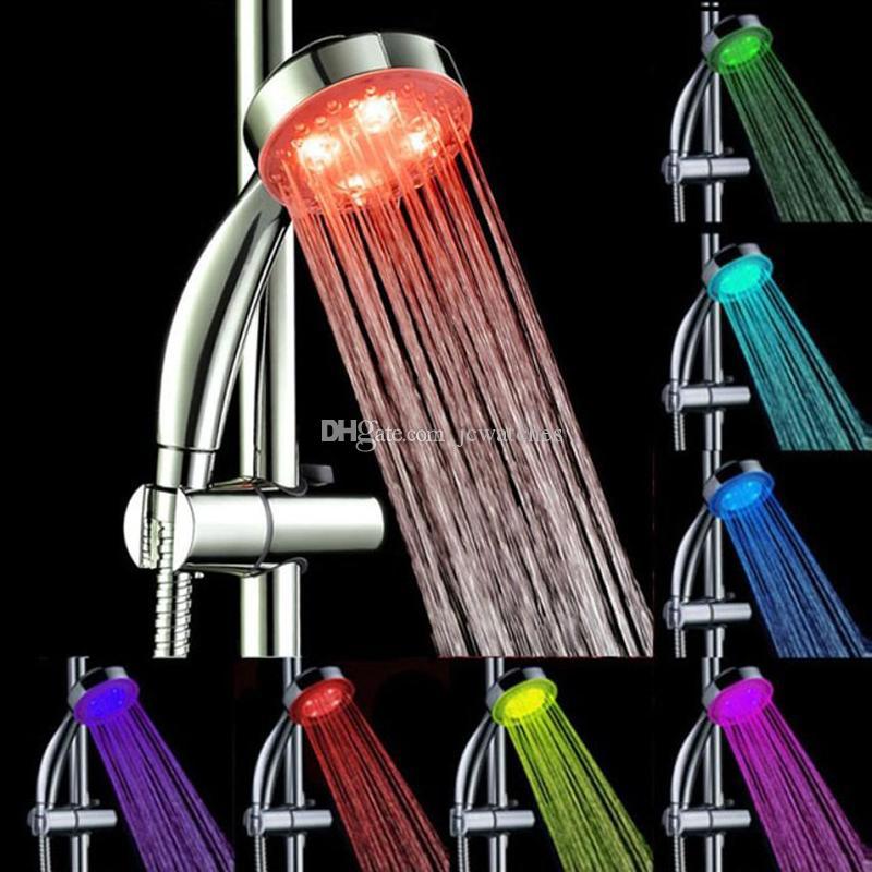 LED-Duschköpfe Badezimmer Sprinkler RGB automatische Farbwechsel beleuchtete Duschkopf Wasserdurchfluss-Power DHL-freies Verschiffen