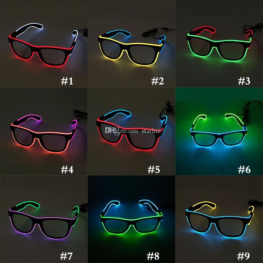 LED Parti Aydınlatma Gözlük Moda EL Iki renkli Parlayan Gözlük Xmas Doğum Günü Cadılar Bayramı neon parti Bar Kostüm dekor malzemeleri WX-G13
