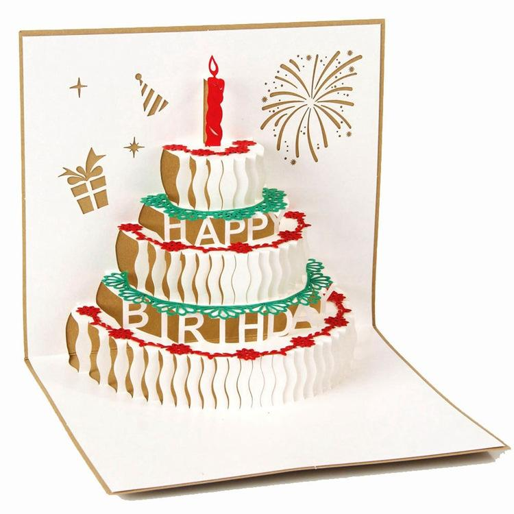 Handmade Paper Art Carving 3D Pop UP Card Birthday Cake With Candle Design Cubic Folding GreetingGift Cards Funny From