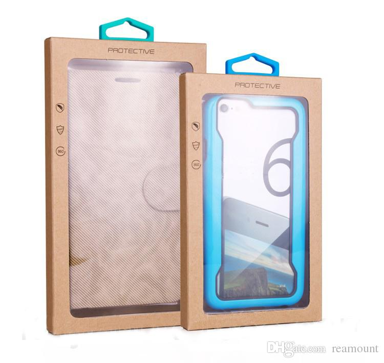 106*185mm Cell Phone Case Retail Packaging New Kraft Paper Package with PVC Window Pouch Case Box Package Bag For iPhone 6 7 Cover