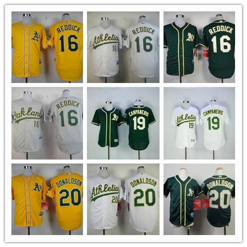 ... Oakland Athletics Baseball Jersey 16 Josh Reddick 19 Campaneris 20  Donaldson Jerseys Gray Green Yellow White ... 87624b2f6