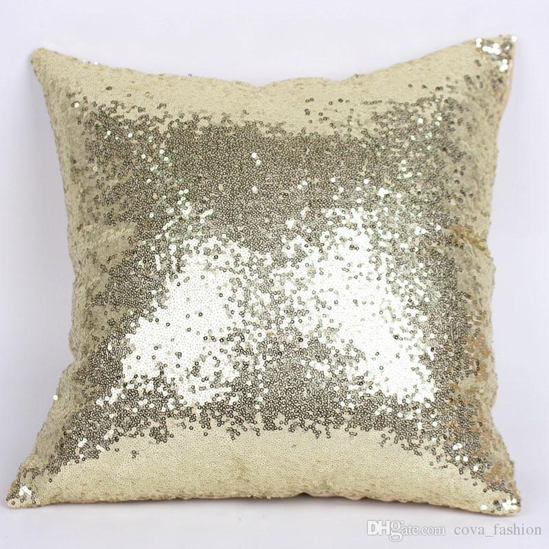 Hot Single Color Sequins Pillow Case Shiny Square Sofa Car Decorations Bright Magic Pillow Cover In Stock