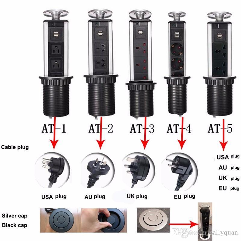 Oversea 2 USB 3 universale Presa Pop Up Pull Presa Power Point Cucina Piano di lavoro Scrivania AU / EU / UK / USA Spina Spedizione gratuita