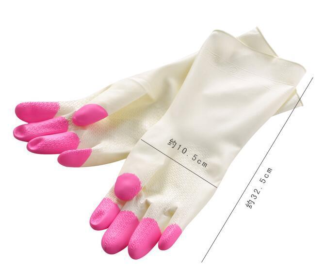 Waschhandschuhe der Küche weißer Patchworkgummi-Reinigungshandschuhgeschirrspülwäschehandschuh-Handschutz-Küchenhelfer geben Verschiffen frei