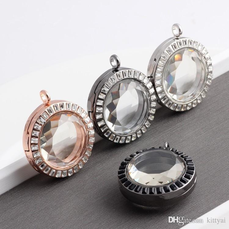 10pcs/lot NEW 2015 33MM Round Rhinestone Floating Locket Necklaces & Pendants Alloy Magnetic Glass Living Memory Locket