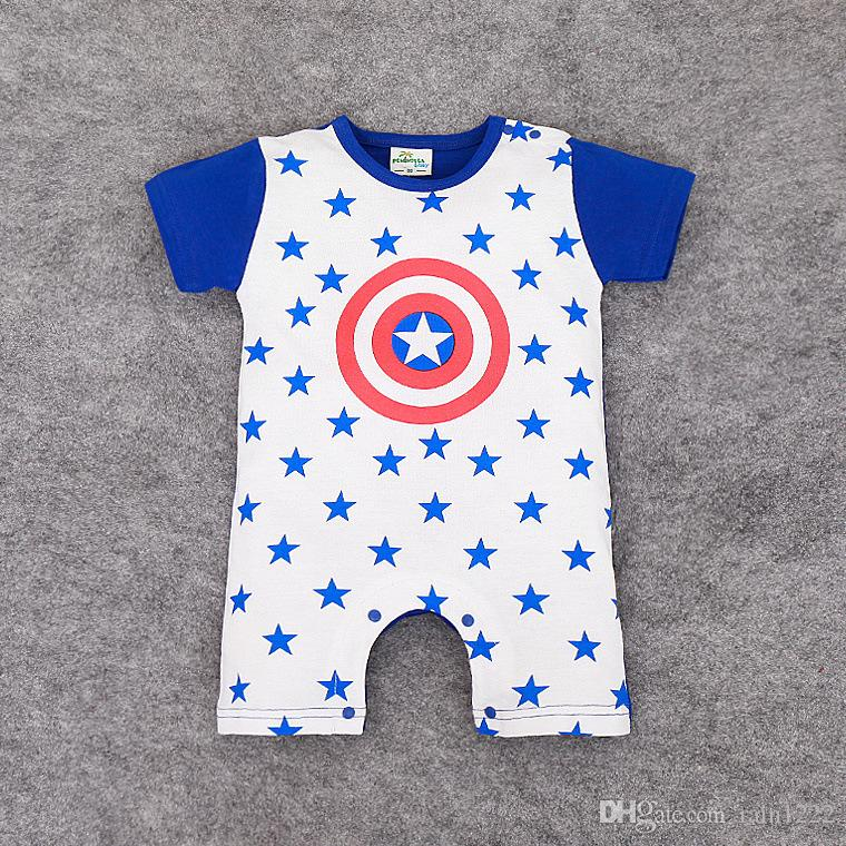 18 Styles Babies Summer Bodysuits Rompers Baby Newborn Letter Super-man Jumpsuits Infants Toddlers Cotton Onesies Clothes Bodysuits For 0-2T