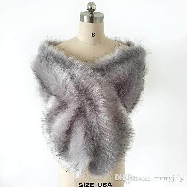 3666bcf1bfc9 2019 Silver Grey Faux Fur Winter Bridal Wrap Stole Shrug Cheap Wedding  Evening Prom Party Shawl Cape Bolero Free Size In Stock From Merryjuly, ...