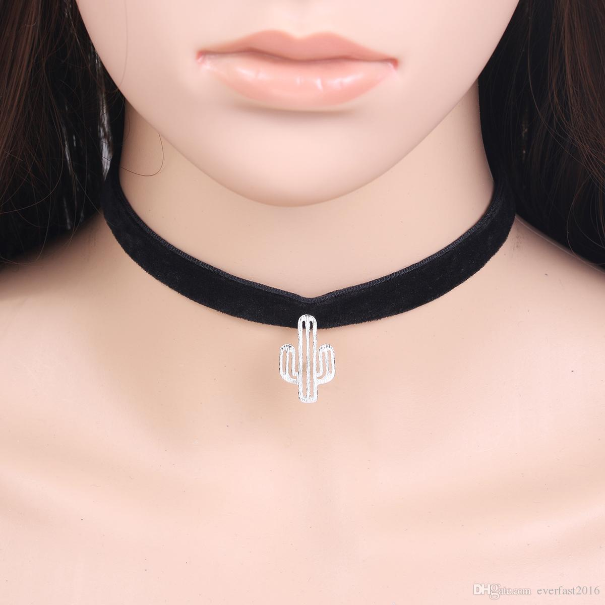New Desert Cactus Pendant Black Velvet Rope Charms Choker Collar Necklace Female Collier Bijoux Girls Gift EFN019V