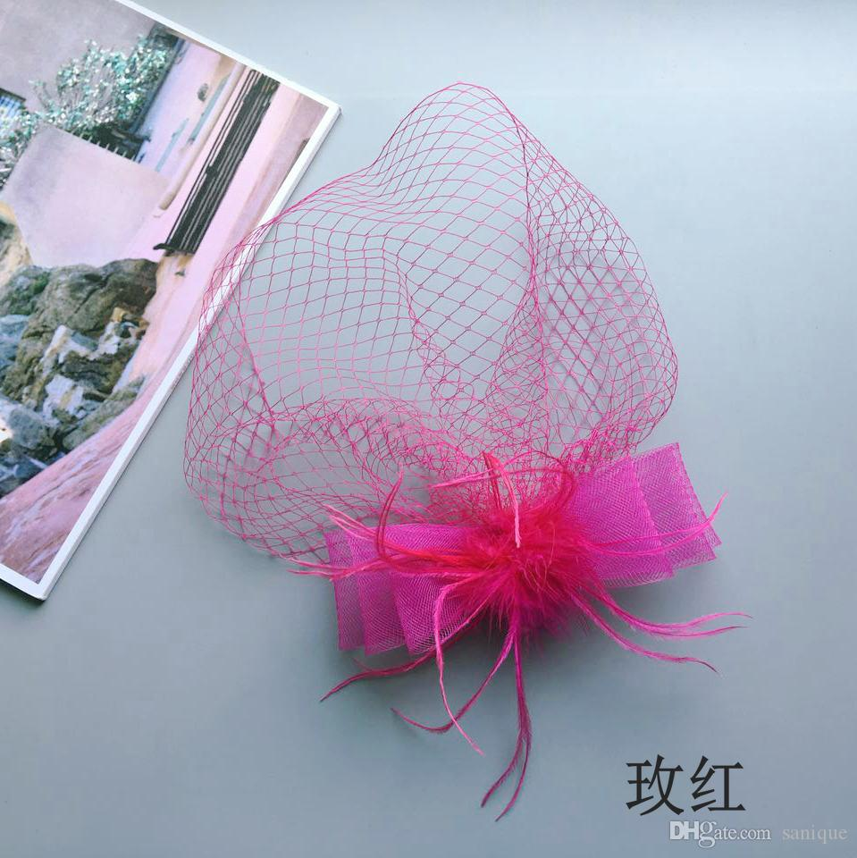 Cheap Hot Sale black Bird cage Net Wedding Bridal Fascinator Hats Face Veil Ivory black Flower for party accessory