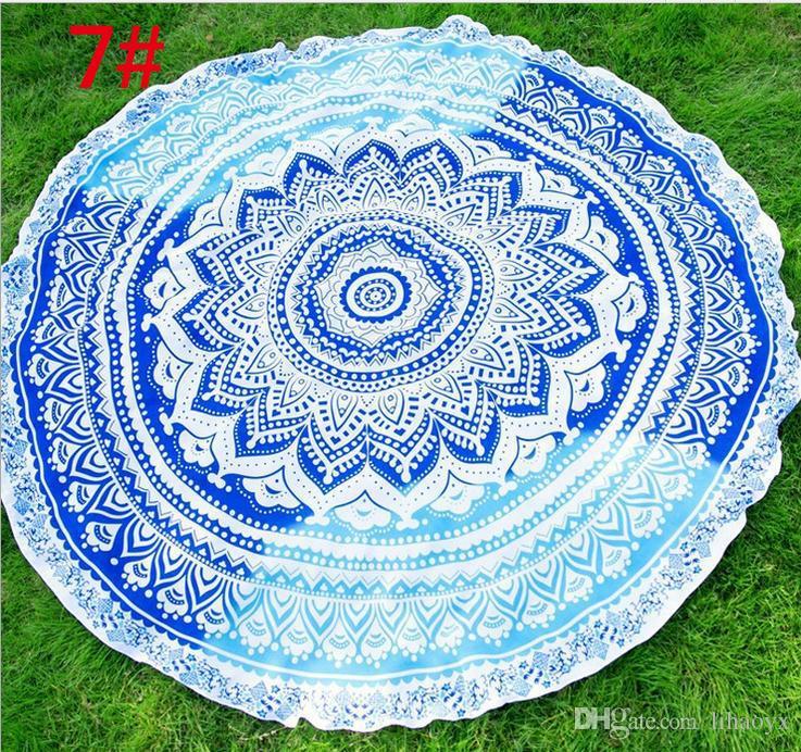 Round Mandala Tapestry Wall Hanging Throw Towel Beach Yo-ga Mat Decor Boho Circle Chiffon Beach Towel B676