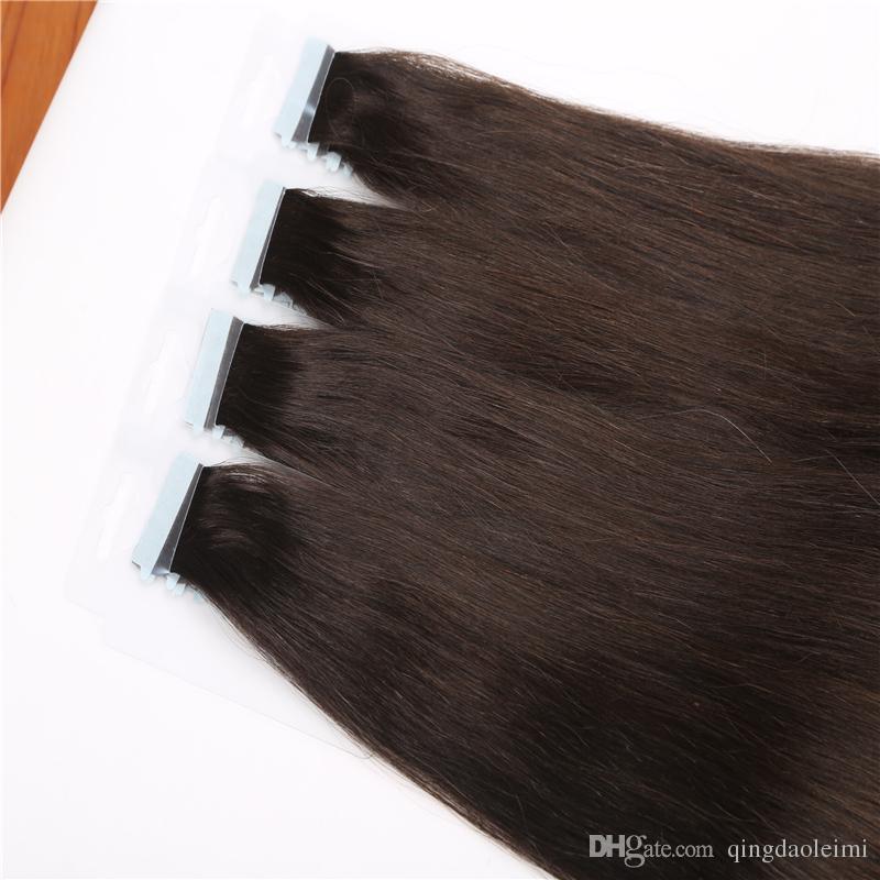 Commercio all'ingrosso brasiliano nastro dritto in estensioni dei capelli 8a capelli vergini brasiliani 20 pz pu trama della pelle non trasformati capelli umani tesse groviglio libero