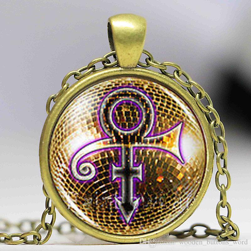 Prince RIP Gold Sign Symbol Shirt Poster Logo Mens Handmade vintage Purple  Rain Necklace Pendant steampunk Jewelry Gift chain