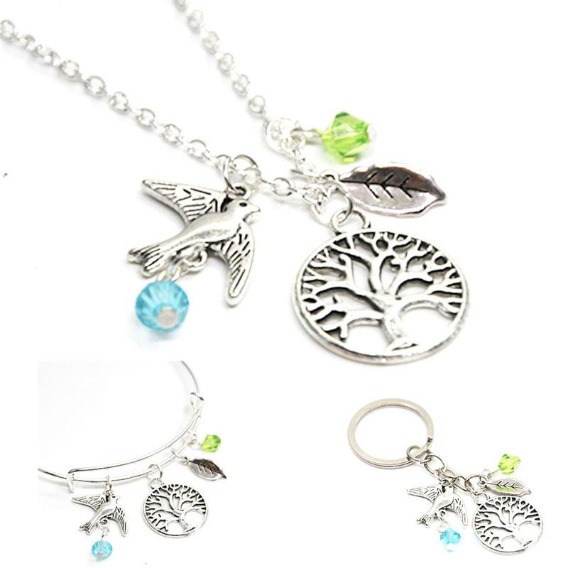 12pcs Tree necklace charm love natural peaceful bird spirit of life charm pendant necklace bangle keyring