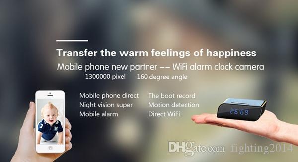 Reloj Wifi IP P2P Cámara HD 720P Visión nocturna Gran angular 160 grados Detección de movimiento Seguridad para el hogar Cámara de red Cámara de niñera
