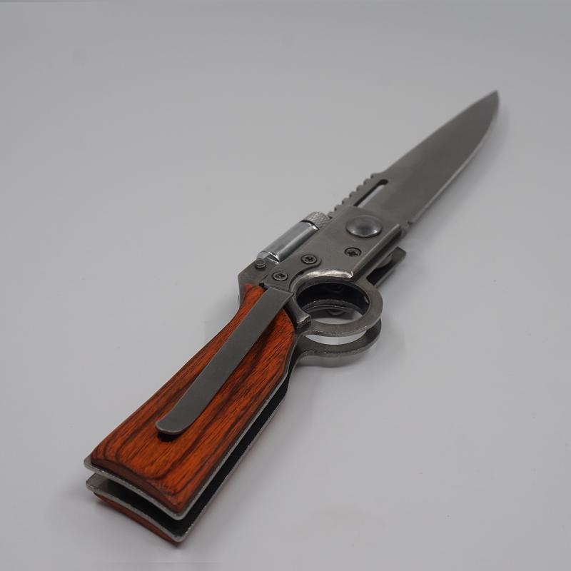 AK47 Pistola de caza en forma de pistola 440 Hoja de acero Mango de palisandro Cuchillos tácticos plegables Camping multifunción Cuchillo de supervivencia Herramienta EDC
