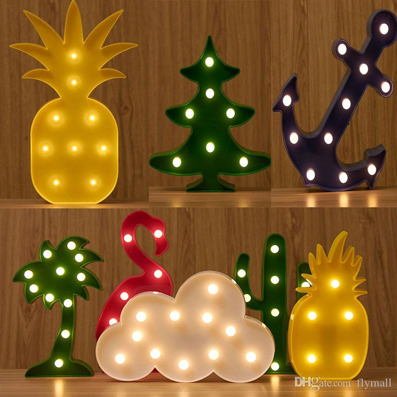 3d flamingopineapplecactuscloudtree led night light sign light table - Christmas Tree Night Light