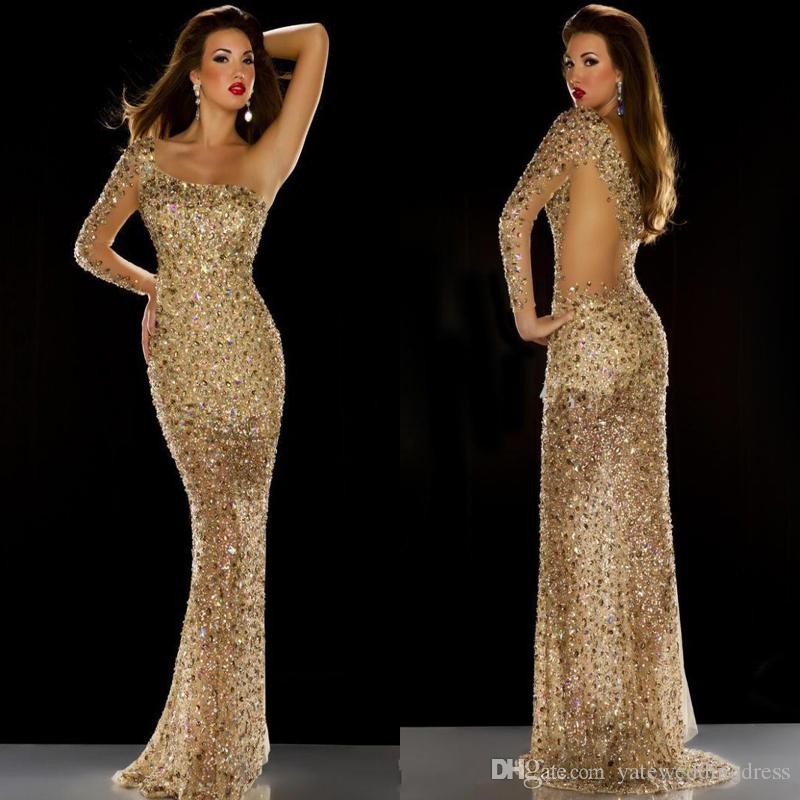 7405bd2eada 2017 New Sparkle Mermaid Style Prom Dresses Major Beaded Colorful Crystal  Evening Dresses One Shoulder Sheer Back Custom Made Party Gowns Prom Dresse  Prom ...