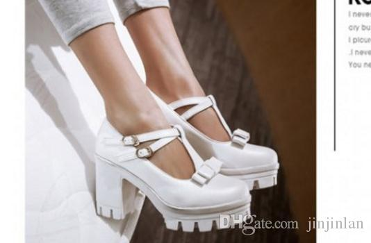 The spring of 2017 round head thick with Japanese single institute wind high-heeled platform shoes bottom with contracted breathable femal