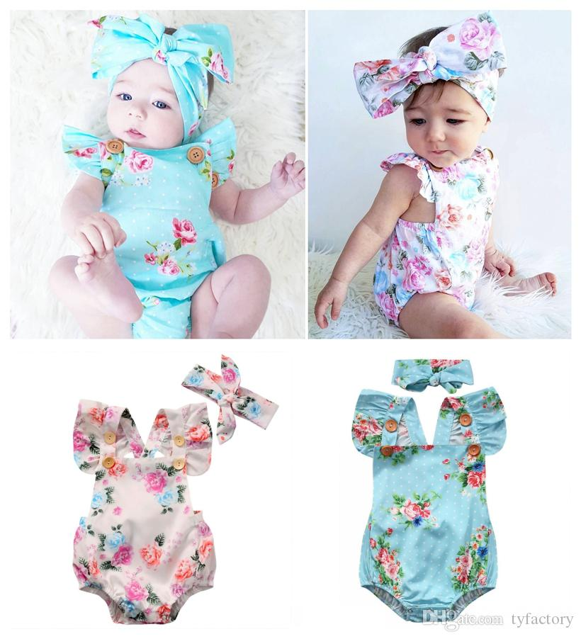 e03f661730206 2019 Baby Floral Romper +Headband Children One Pieces Little Baby Clothes  Babys Clothing 2017 Hot Selling High Quality 0 24M From Tyfactory
