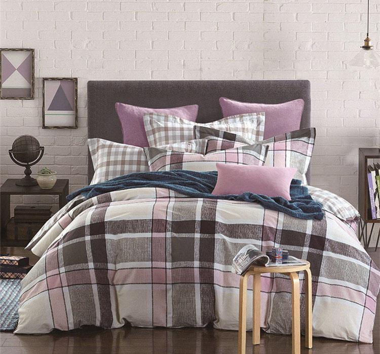 Grey Black Blue Plaids Bedding Sets 100
