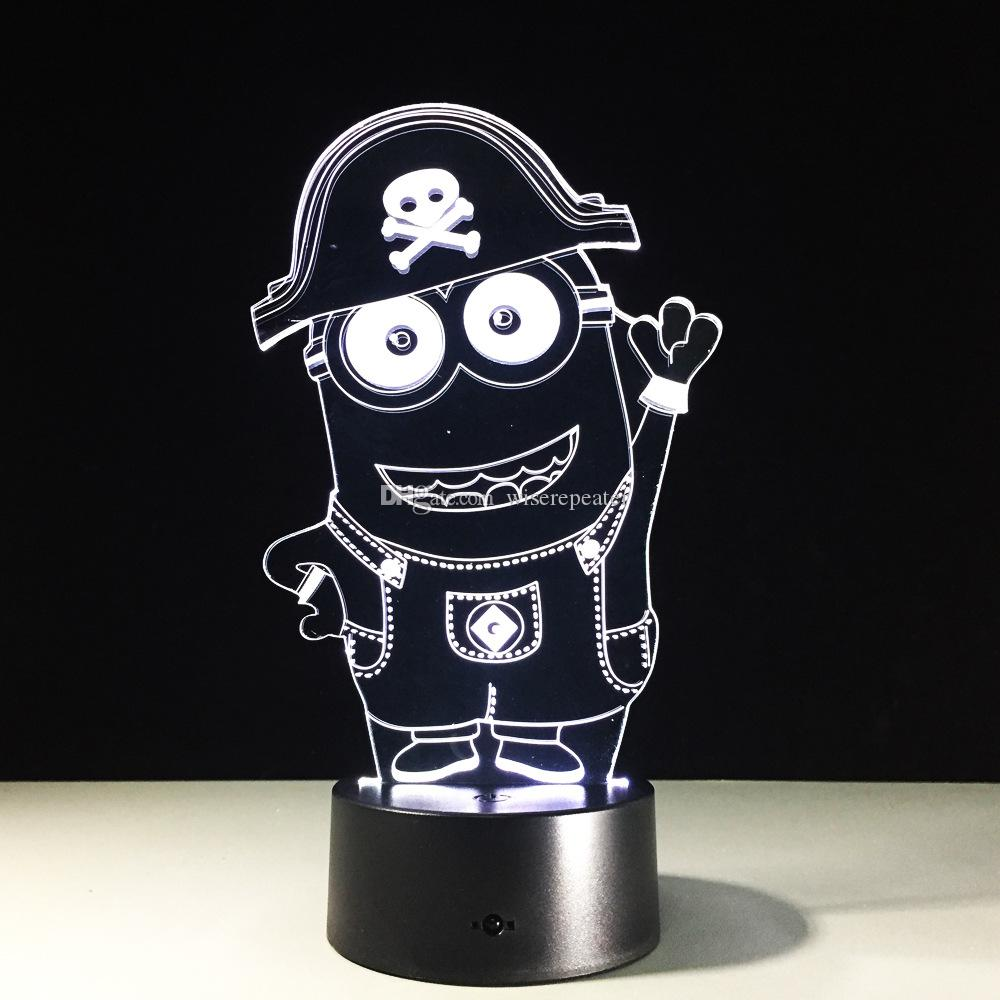 Minions 3D Optical Illusion Lamp Night Light 7 RGB Lights DC 5V USB Charging AA Battery Dropshipping Free Shipping