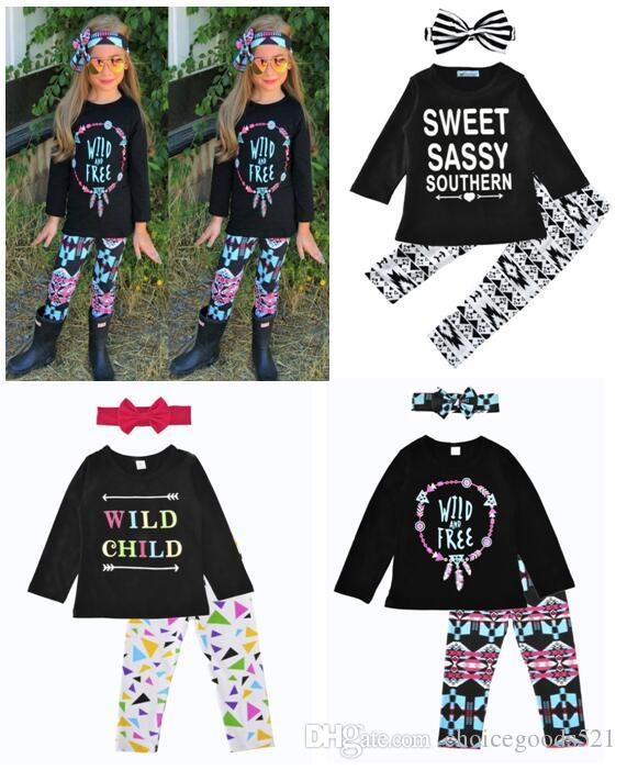 d9c6ae25c Baby Girls Three Pieces Set Kids Letter Long Sleeve Tops+Pants+ ...