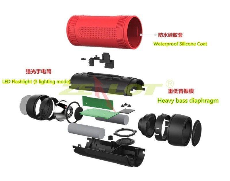 Taşınabilir Zealot S1 Bluetooth Hoparlör 4000 mah Güç Bankası Şarj Edilebilir + Açık Spor için LED ışık ve 3 IN 1 fonksiyonu