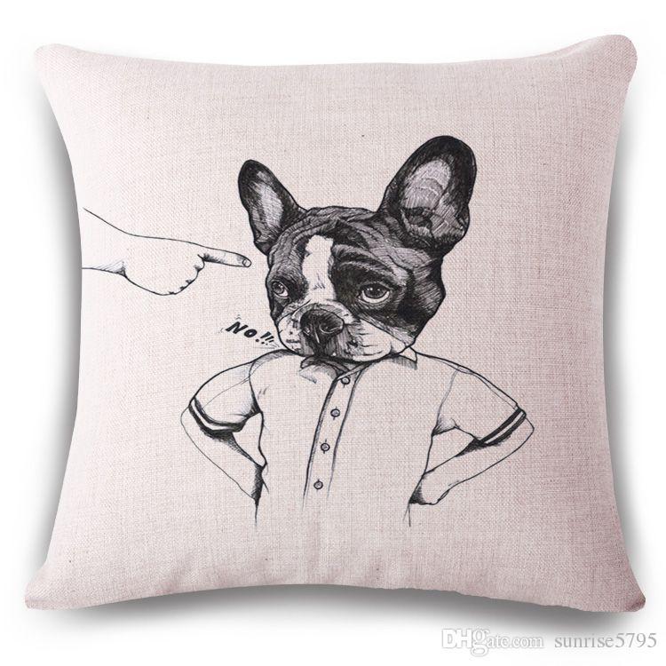 sketch dog cushion cover creative pug sofa chaise throw pillow case rh dhgate com