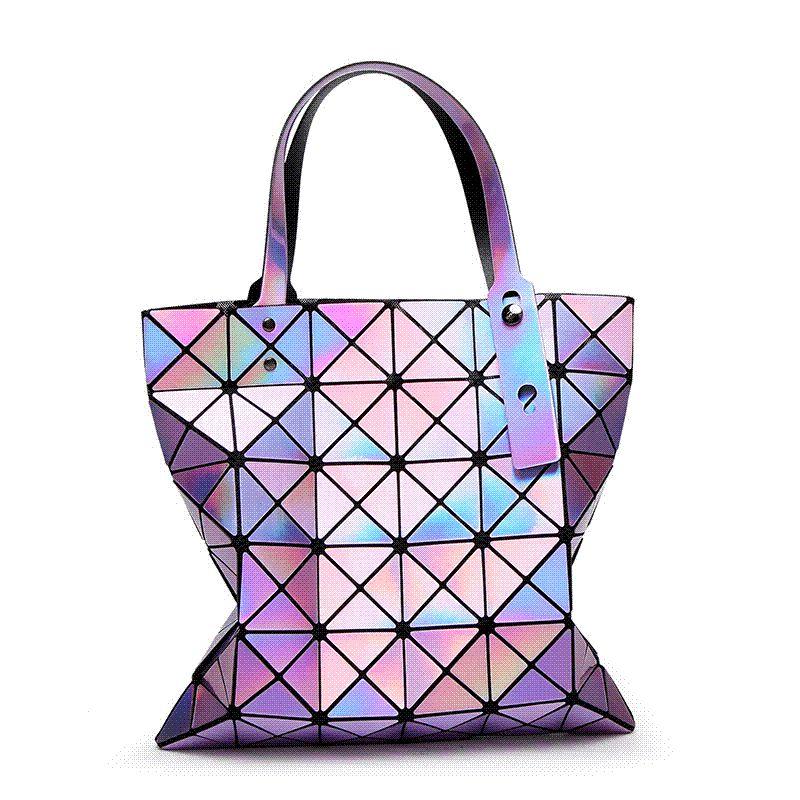 0211563e1960 Famous Brands Women Laser Bright BaoBao Tote Lady Geometry Diamond Lattice  Sequins Fold Over Pearl Bao Bao Bag Hologram Handbags Black Handbag Fashion  Bags ...