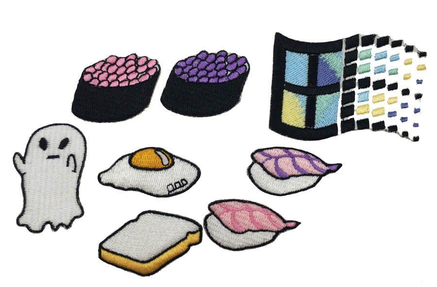 DIY الغذاء السوشي الخبز عجة ويندوز مخصص بقع الحديد على شارة 100 ٪ emb بقع من مصنع الصين جعل جميع حرية الملاحة