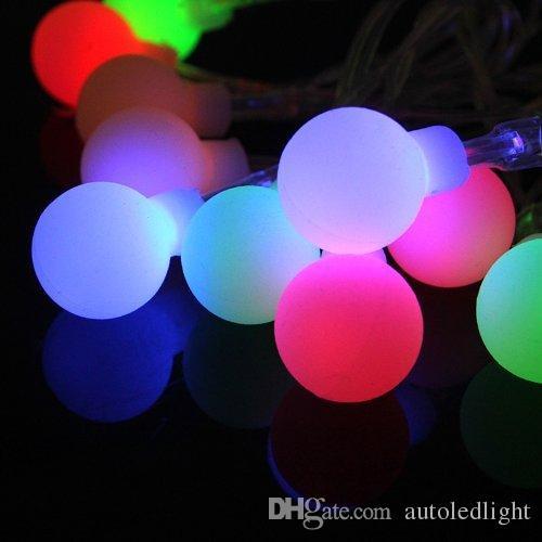 16 pies 50 LED luces de cadena de globo al aire libre 8 modos con pilas Bola blanca esmerilada Luz de hadas regulable Ip65 Impermeable