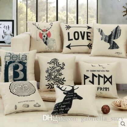 new black nature carton cute printed child linen cushion cover rh dhgate com
