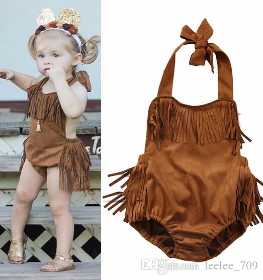 6bfe15300221 2019 2017 INS Baby Girl Toddler Summer Clothes Clothing Tassels Romper Lace  Ruffles Romper Onesies Jumpsuits Diaper Covers Bloomers Halter Neck From ...